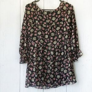 Free People Mini Babydoll Dress Dark Floral Size 0